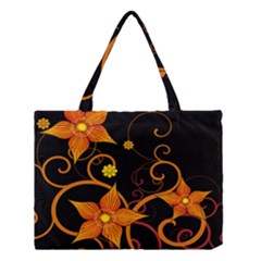Star Leaf Orange Gold Red Black Flower Floral Medium Tote Bag by Mariart