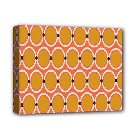 Orange Circle Polka Deluxe Canvas 14  X 11  by Mariart