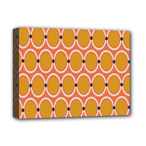 Orange Circle Polka Deluxe Canvas 16  X 12   by Mariart