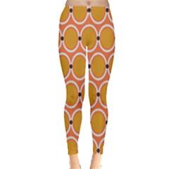 Orange Circle Polka Leggings  by Mariart
