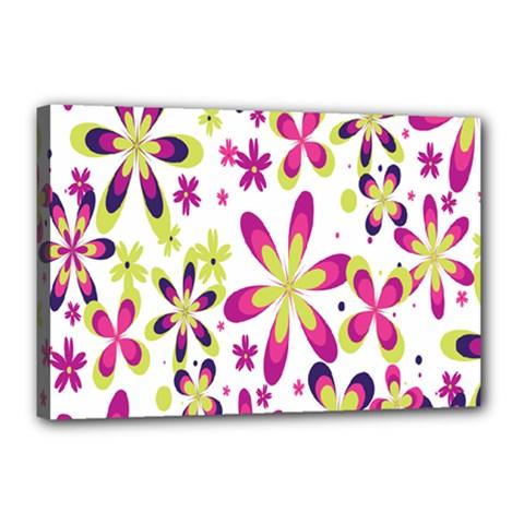 Star Flower Purple Pink Canvas 18  x 12