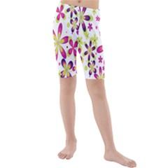 Star Flower Purple Pink Kids  Mid Length Swim Shorts