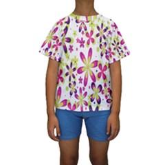Star Flower Purple Pink Kids  Short Sleeve Swimwear