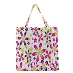 Star Flower Purple Pink Grocery Tote Bag