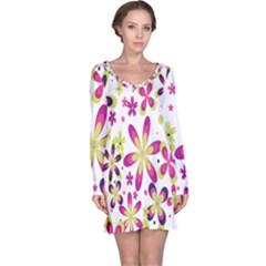 Star Flower Purple Pink Long Sleeve Nightdress
