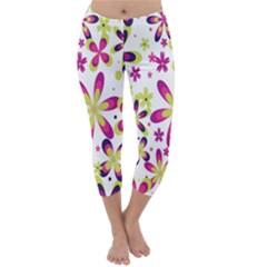 Star Flower Purple Pink Capri Winter Leggings