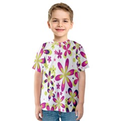 Star Flower Purple Pink Kids  Sport Mesh Tee