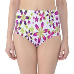 Star Flower Purple Pink High-Waist Bikini Bottoms