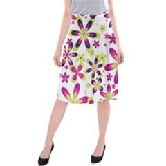 Star Flower Purple Pink Midi Beach Skirt