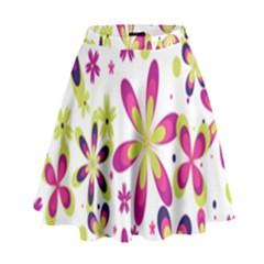 Star Flower Purple Pink High Waist Skirt