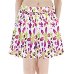 Star Flower Purple Pink Pleated Mini Skirt