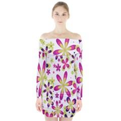 Star Flower Purple Pink Long Sleeve Off Shoulder Dress