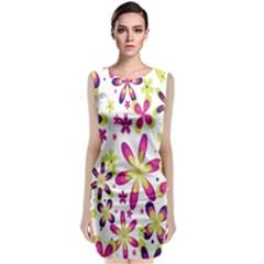 Star Flower Purple Pink Sleeveless Velvet Midi Dress