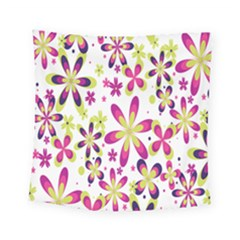 Star Flower Purple Pink Square Tapestry (Small)