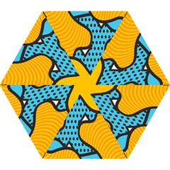 Wave Chevron Orange Blue Circle Plaid Polka Dot Mini Folding Umbrellas by Mariart