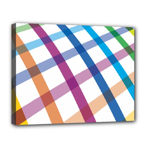 Webbing Line Color Rainbow Canvas 14  X 11  by Mariart