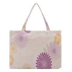 Star Sunflower Floral Grey Purple Orange Medium Tote Bag by Mariart