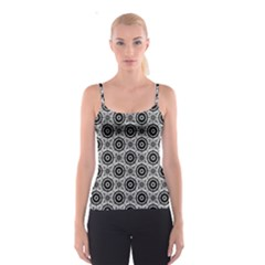 Geometric Black And White Spaghetti Strap Top by linceazul