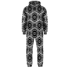 Geometric Black And White Hooded Jumpsuit (men)  by linceazul