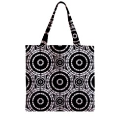 Geometric Black And White Zipper Grocery Tote Bag by linceazul