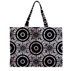Geometric Black And White Zipper Mini Tote Bag by linceazul