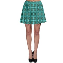 Turquoise Damask Pattern Skater Skirt by linceazul