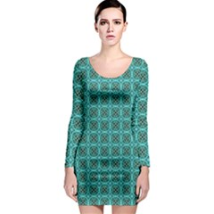 Turquoise Damask Pattern Long Sleeve Bodycon Dress by linceazul