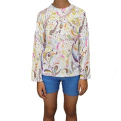 Colorful Seamless Floral Background Kids  Long Sleeve Swimwear by TastefulDesigns