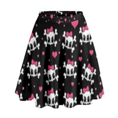 Cute Skulls  High Waist Skirt by Valentinaart