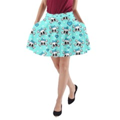 Cute Skull A Line Pocket Skirt by Valentinaart
