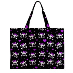 Cute Skull Zipper Mini Tote Bag by Valentinaart
