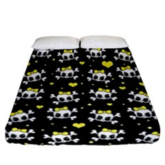 Cute Skull Fitted Sheet (california King Size) by Valentinaart