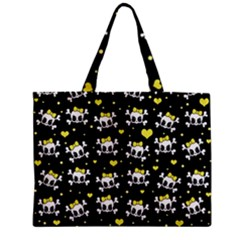 Cute Skull Zipper Mini Tote Bag by Valentinaart
