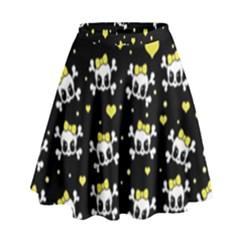 Cute Skull High Waist Skirt by Valentinaart