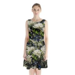 Floral Skies 2 Sleeveless Waist Tie Chiffon Dress