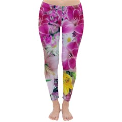 Colorful Flowers Patterns Classic Winter Leggings by Vanbedor