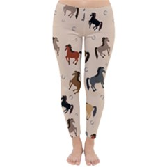 Horses Pattern Classic Winter Leggings by Vanbedor