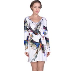 Colorful Love Birds Illustration With Splashes Of Paint Long Sleeve Nightdress by TastefulDesigns
