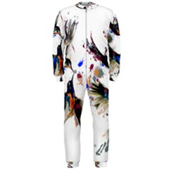 Colorful Love Birds Illustration With Splashes Of Paint Onepiece Jumpsuit (men)  by TastefulDesigns