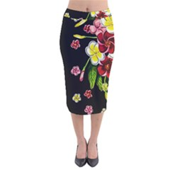 Floral Rhapsody Pt 2 Velvet Midi Pencil Skirt by dawnsiegler