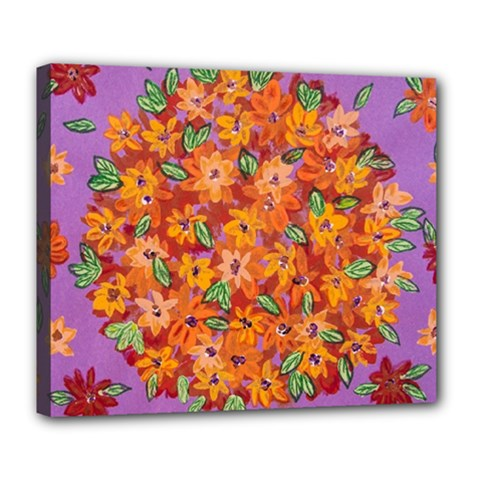 Floral Sphere Deluxe Canvas 24  X 20   by dawnsiegler