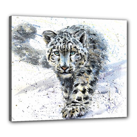 Snow Leopard 1 Canvas 24  X 20  by kostart