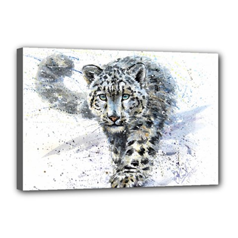 Snow Leopard 1 Canvas 18  X 12  by kostart
