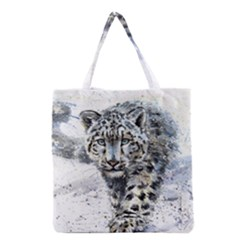Snow Leopard 1 Grocery Tote Bag by kostart