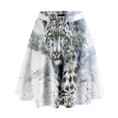 Snow Leopard 1 High Waist Skirt by kostart