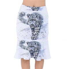 Snow Leopard 1 Mermaid Skirt by kostart