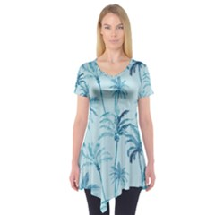 Watercolor Palms Pattern  Short Sleeve Tunic  by TastefulDesigns