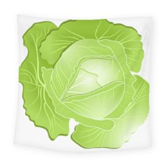 Cabbage Leaf Vegetable Green Square Tapestry (large) by Mariart