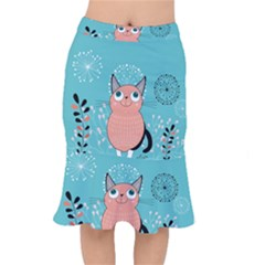 Cat Face Mask Smile Cute Leaf Flower Floral Mermaid Skirt by Mariart