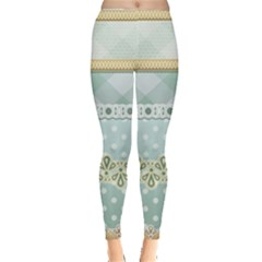 Circle Polka Plaid Triangle Gold Blue Flower Floral Star Leggings  by Mariart